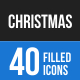 40 Christmas Filled Blue & Black Icons