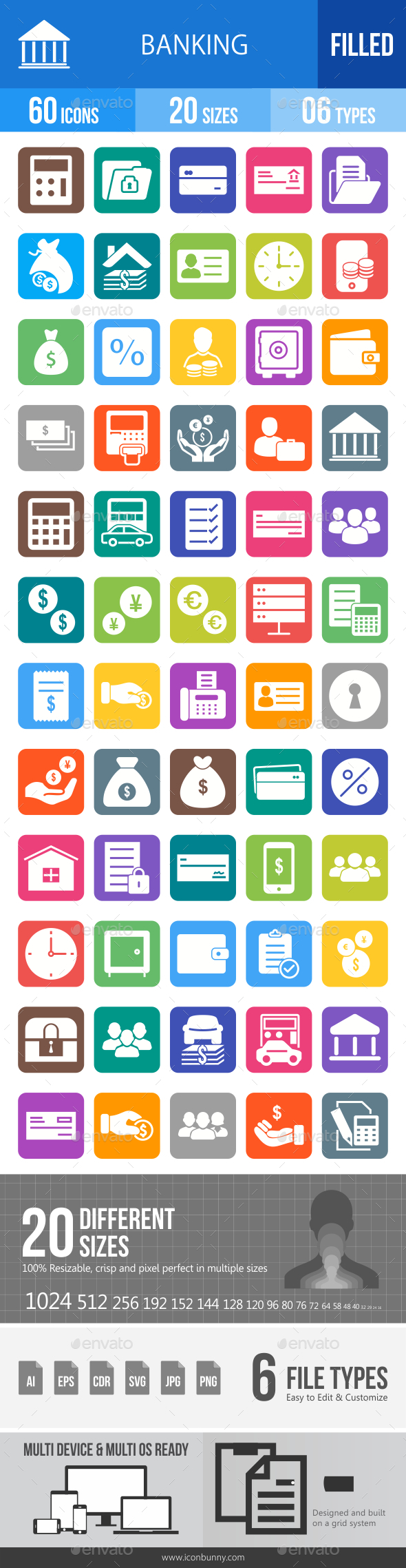 60 Banking Filled Blue & Black Icons - Icons
