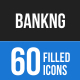 60 Banking Filled Blue & Black Icons