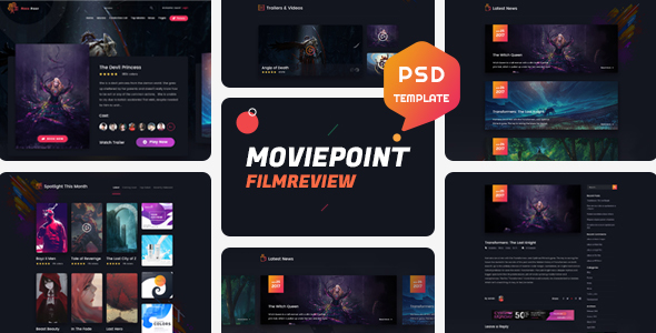 Movie Point – One Page Psd Template