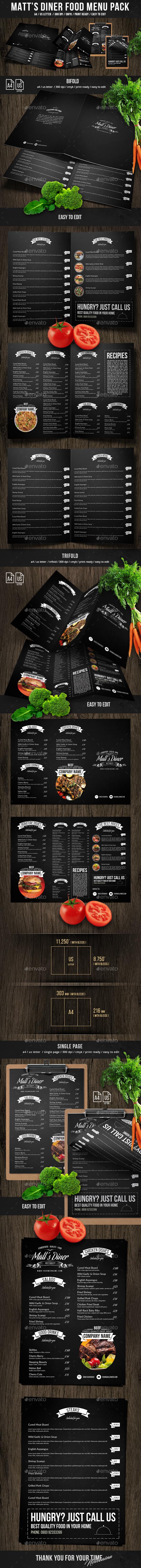 Matt's Diner Food Menu Bundle - Food Menus Print Templates