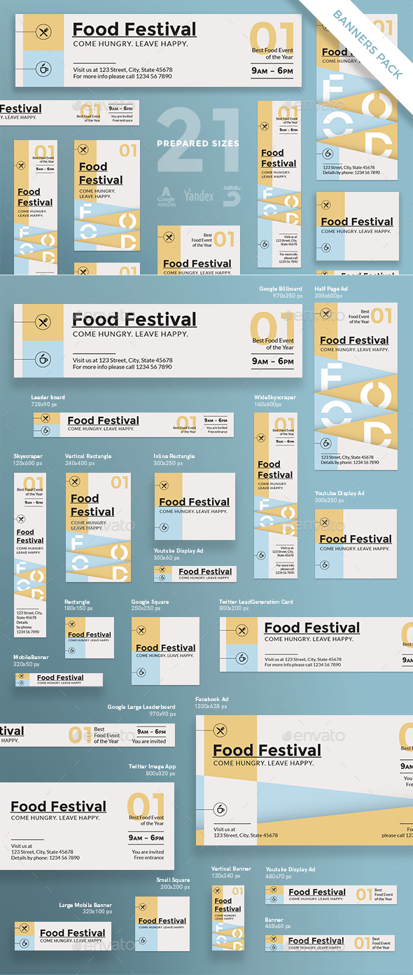 Food Festival Banner Pack - Banners & Ads Web Elements