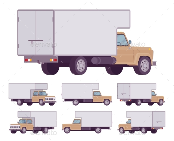 Beige Truck Set - Man-made Objects Objects