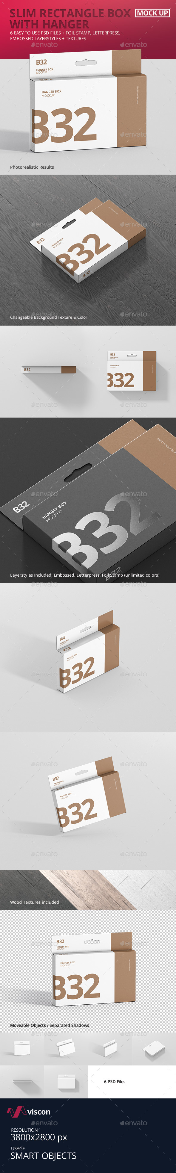Box Mockup - Wide Slim Rectangle Size with Hanger - Miscellaneous Packaging