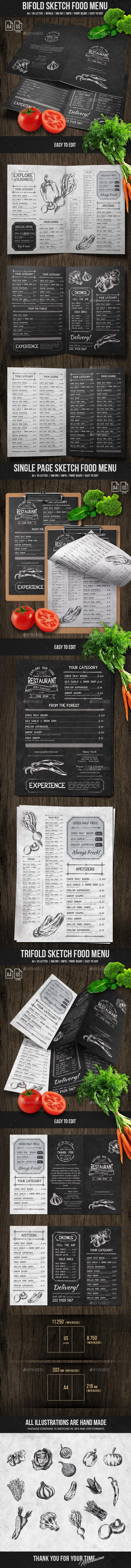 Sketch Food Menu Bundle - Food Menus Print Templates