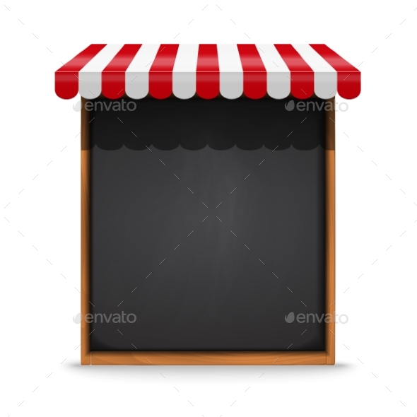 Black Chalkboard Frame with Red Awning - Food Objects
