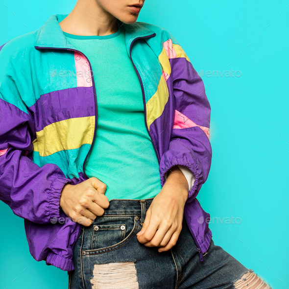 Girl in vintage hipster windbreaker Rave Style details - Stock Photo - Images