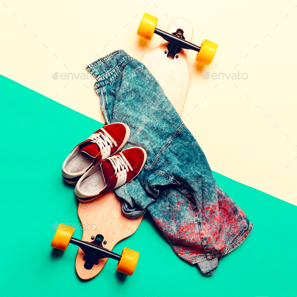 Skateboard, jeans, sneakers, Love Urban fashion. minimal design - Stock Photo - Images