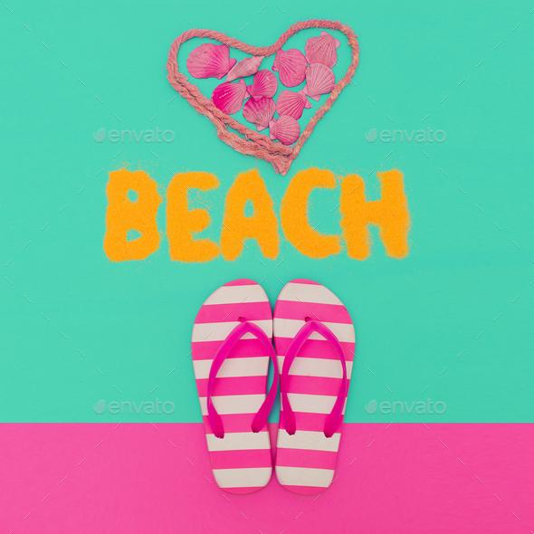 Beach Love Summer time. Flip-flops minimal art - Stock Photo - Images
