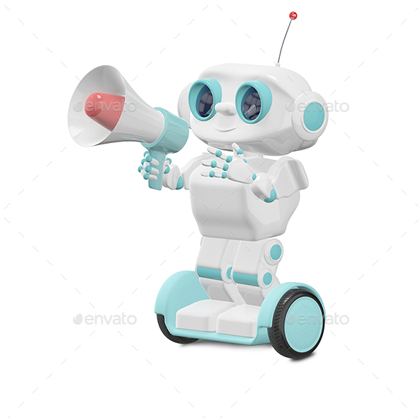 3D Illustration Robot with Megaphone - Characters 3D Renders