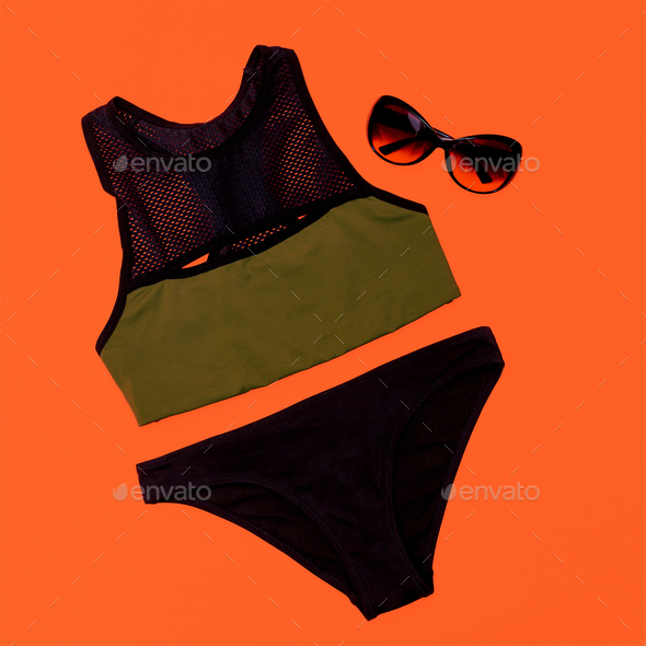 Stylish sports swimsuit. Summer outfit - Stock Photo - Images