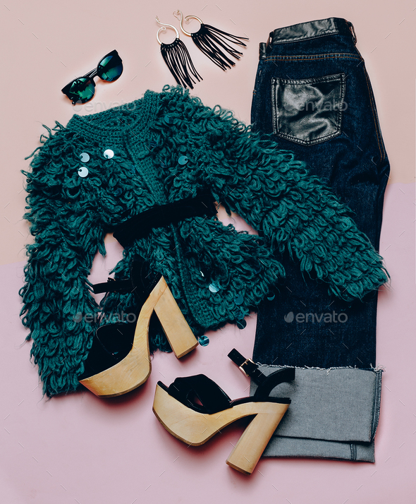 Fashionable outfit For every day. Stylish women's clothing. Deni - Stock Photo - Images