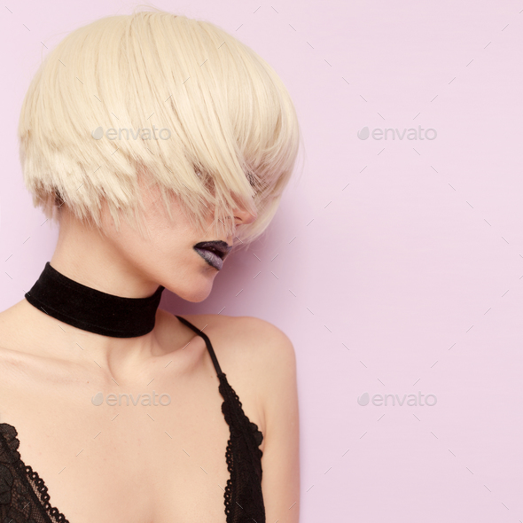 Sensual Blonde Stylish Haircut Fashion Choker Necklace - Stock Photo - Images