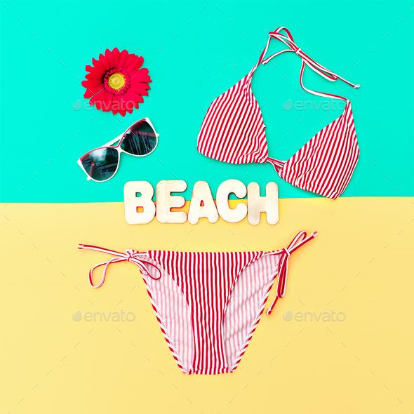 Fashionable Bikini and accessories. Beach fashion style - Stock Photo - Images