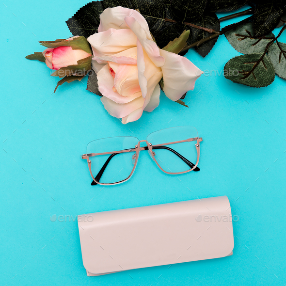 Fashion Glasses  Stylish accessories for women. Flat lay minimal - Stock Photo - Images