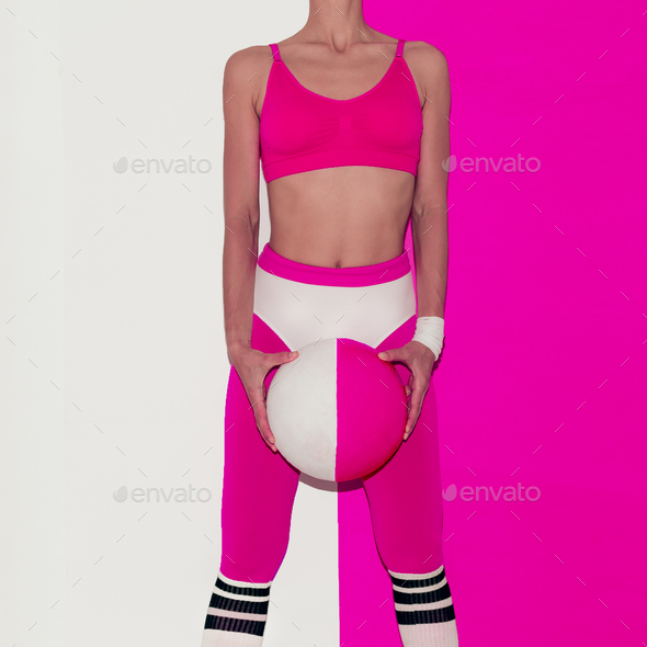 Fitness training vibration. Football. Pop art style. Fashion gir - Stock Photo - Images