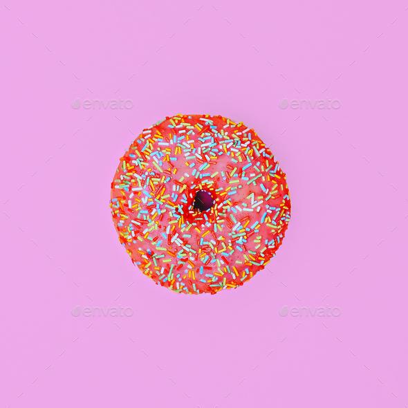 Donut. Minimal. Surreal fashion art - Stock Photo - Images