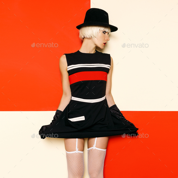 Blonde Retro Style Cabaret vintage clothing. Minimal Fashion. St - Stock Photo - Images