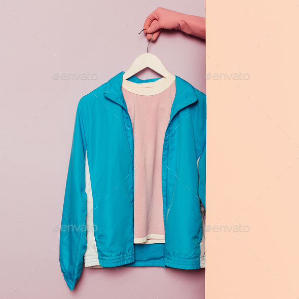 Stylish sportswear. Minimal fashion. Windbreaker on a hanger. Wa - Stock Photo - Images
