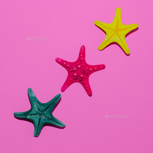Set of sea stars. I love the beach. Minimal art - Stock Photo - Images