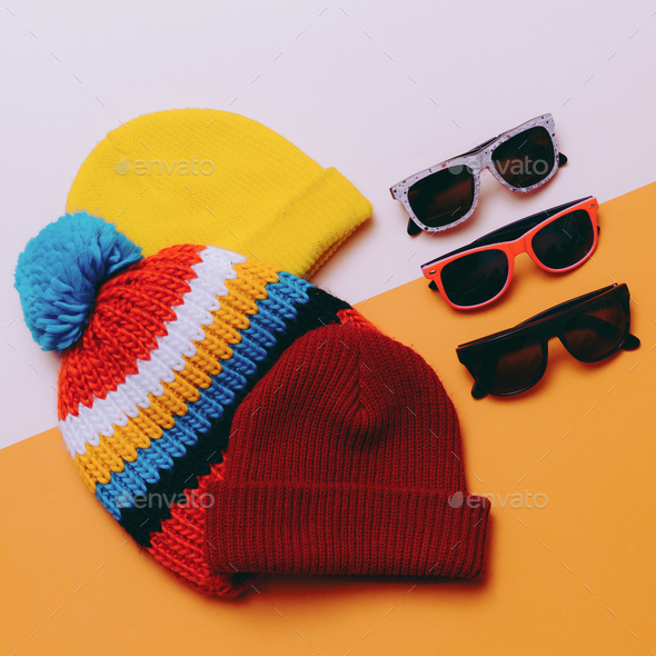 Bright urban. Set hats and glasses. Skateboard and snowboard fas - Stock Photo - Images