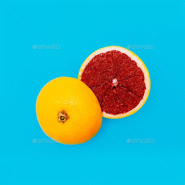 Citrus Grapefruit Minimal Art Still Life - Stock Photo - Images