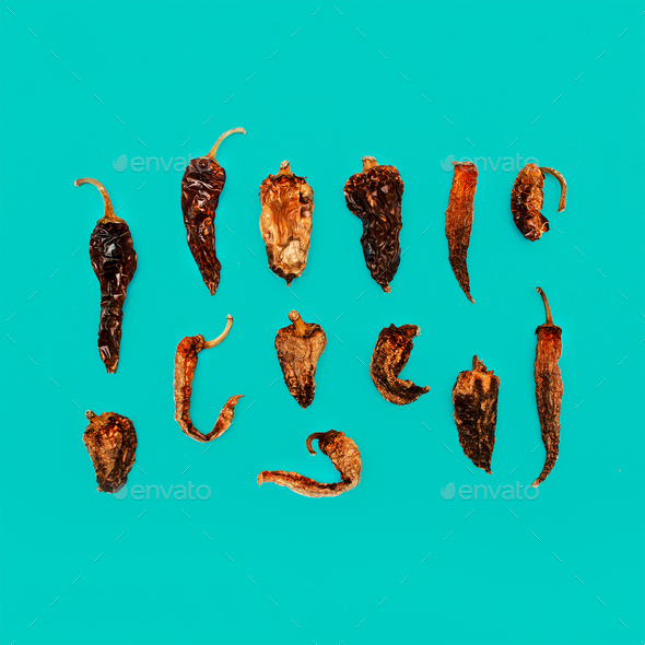Composition Dried Peppers. Minimal art design - Stock Photo - Images