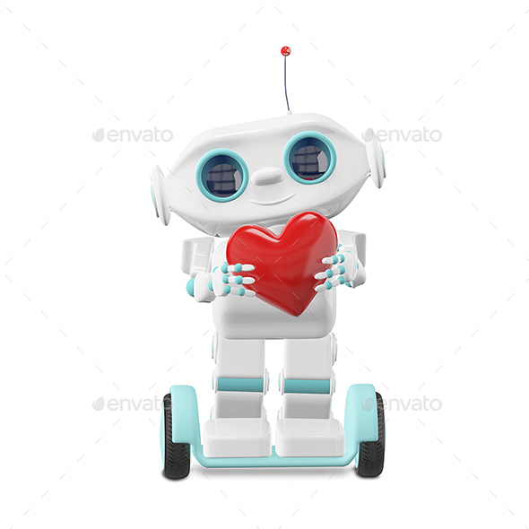 3D Illustration Little Robot with Heart - Characters 3D Renders