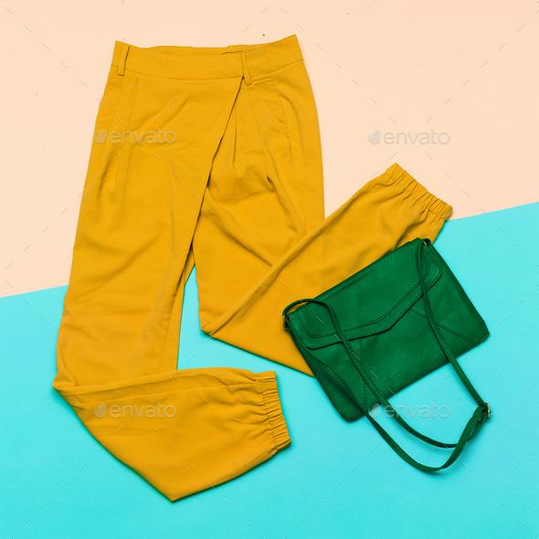 Pants & Bag. Summer colors. top view - Stock Photo - Images