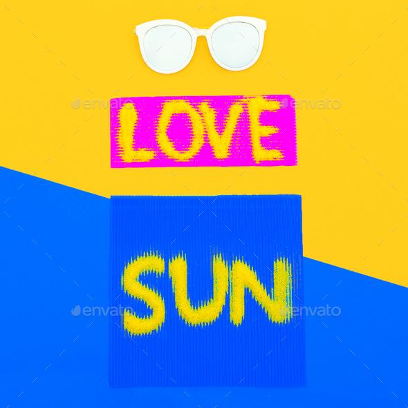 Love Sun Vibes set Sunglasses Minimal style art - Stock Photo - Images