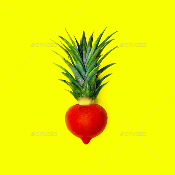 Mix Pineapple and tomato. Vegan Style minimal - Stock Photo - Images
