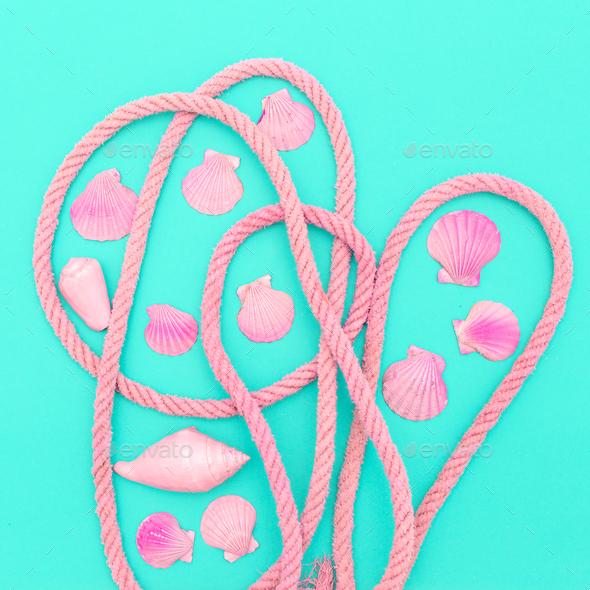 Pink Seashells Set Marine Style Minimal - Stock Photo - Images