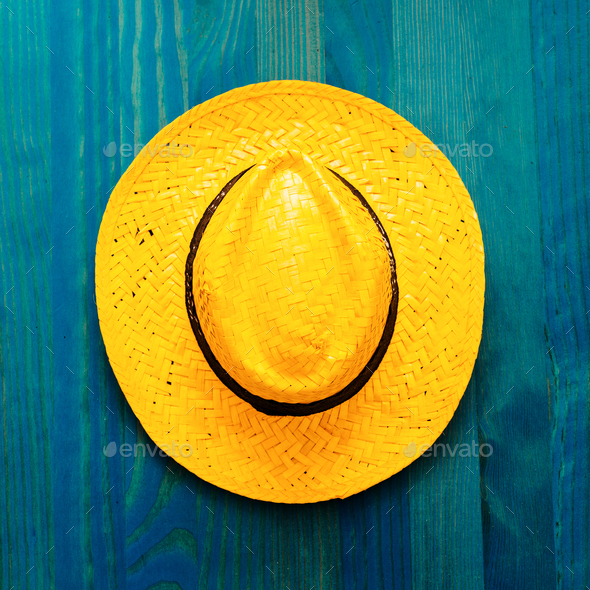 Straw hat. Beach ideas. Minimal - Stock Photo - Images