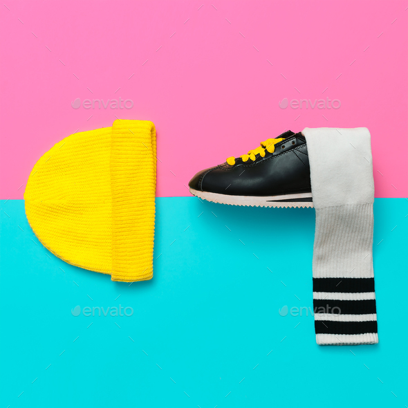 Bright Outfit.  Minimal fashion creative art. Stylish sneakers a - Stock Photo - Images