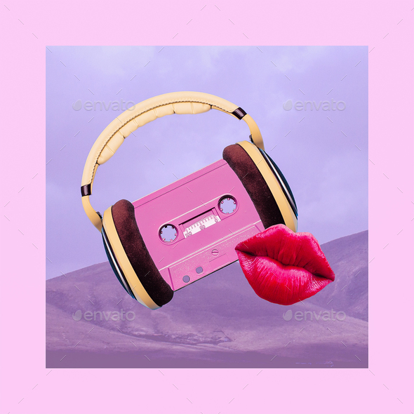 Contemporary art collage. Retro Vibes Lover. Audio cassette and - Stock Photo - Images