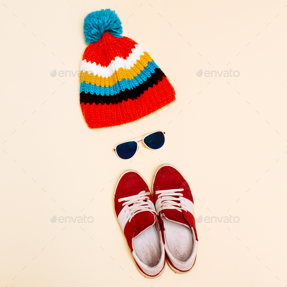 Minimalism style hipster set hat  fashion sneakers glasses - Stock Photo - Images