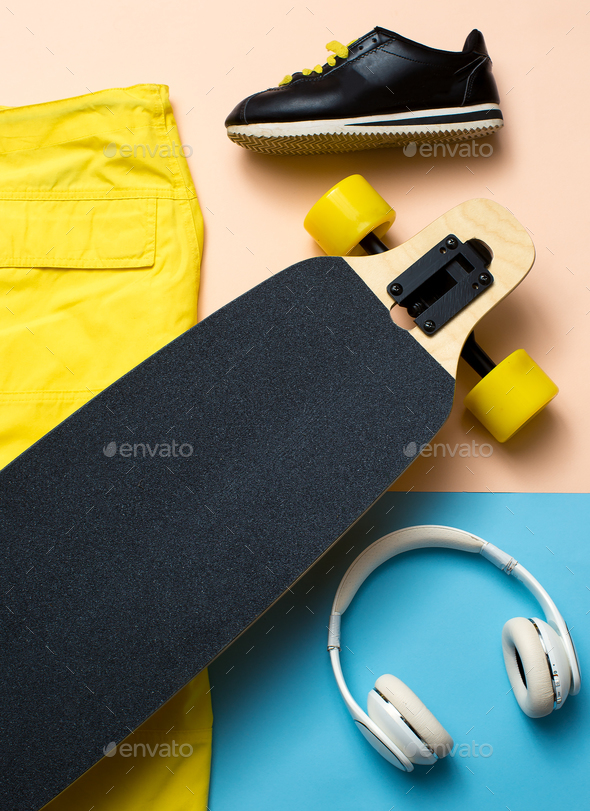 Minimal design. Skate, music, sneakers. Urban outfit - Stock Photo - Images