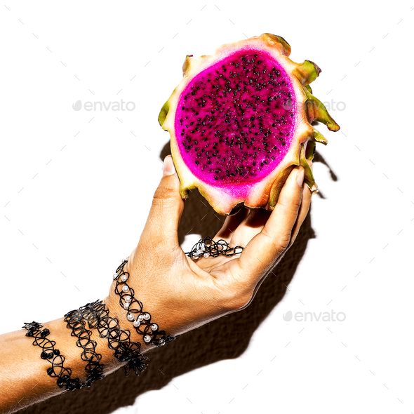 Dragon fruit and bracelets accessories. Minimal art design - Stock Photo - Images