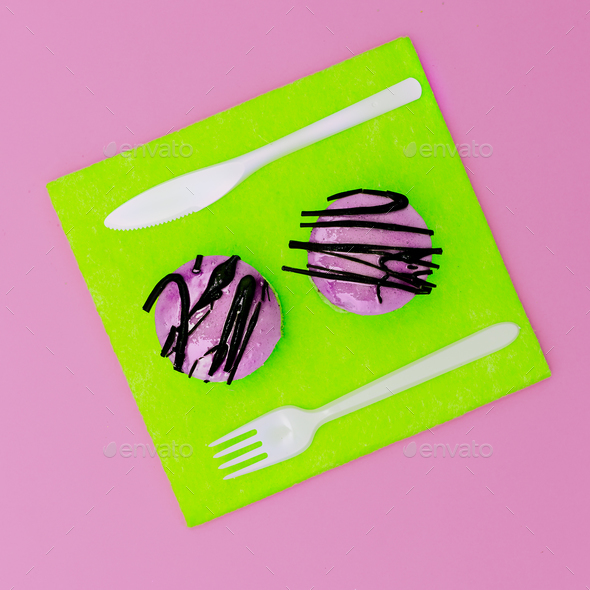Bright fast food Two mini cake surreal minimal creative art - Stock Photo - Images