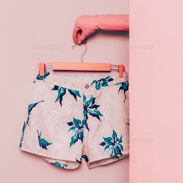 Stylish clothes. Minimal fashion. Shorts floral print. Wardrobe - Stock Photo - Images