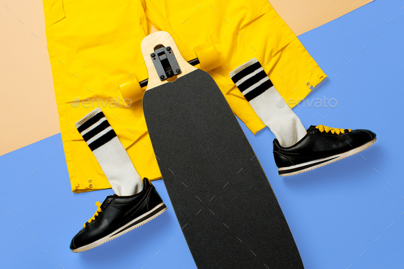 Sneakers and skateboard. Art minimal style urban design - Stock Photo - Images
