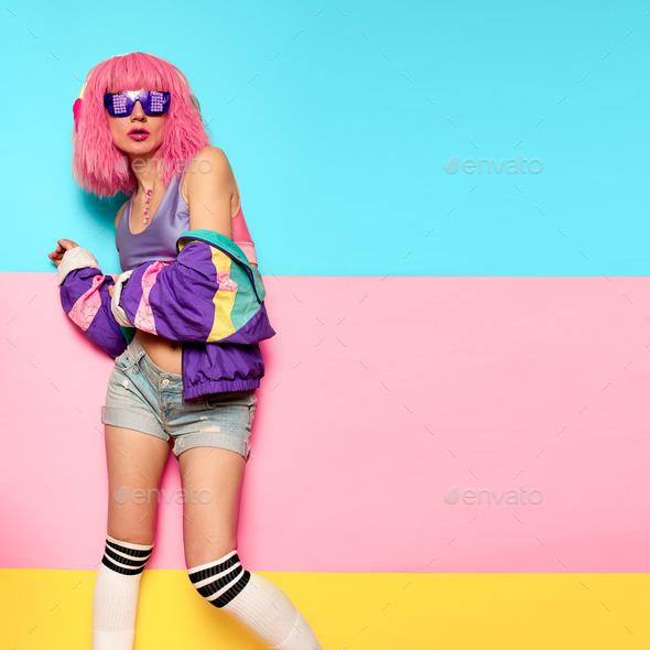 Playful Stylish Girl DJ. Rave, house, digital party Music and fi - Stock Photo - Images