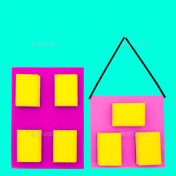 Houses made of sponges. Minimal art design. - Stock Photo - Images