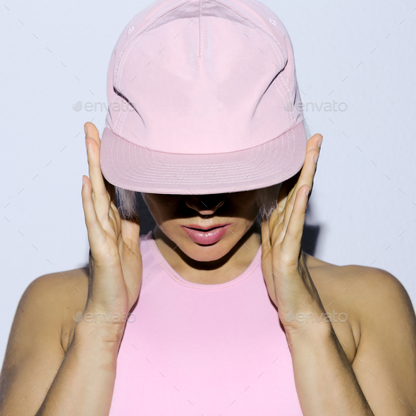 Rnb Girl in a cap Urban style fashion club style - Stock Photo - Images
