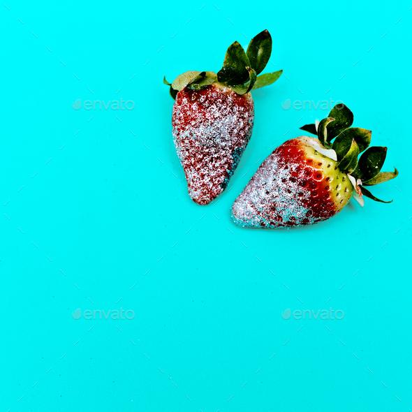 Fashion Strawberry Sweet Concept Glamour Glitter Minimal Stillif - Stock Photo - Images