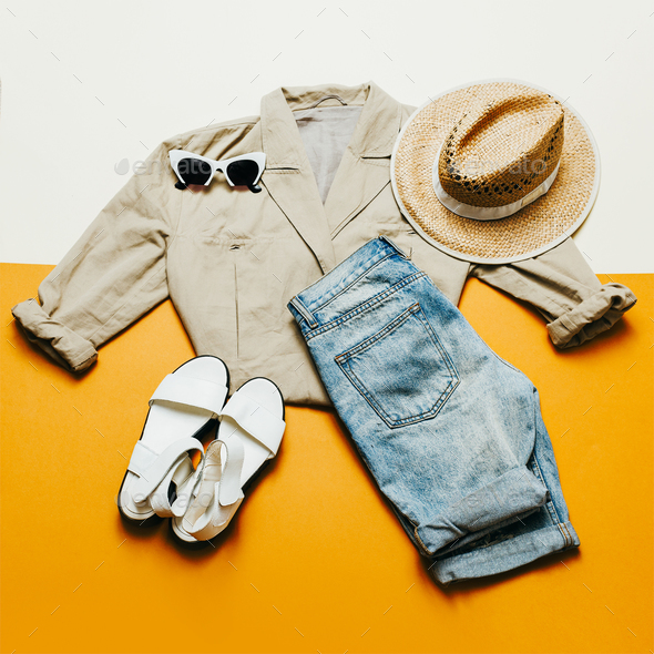 Summer outfit. Shorts Hat Safari Style - Stock Photo - Images