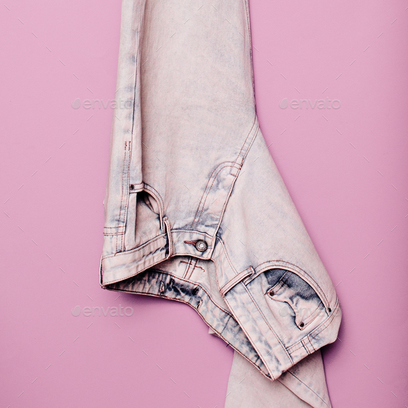 Stylish clothes. Jeans Denim. Minimal fashion. Wardrobe Trends I - Stock Photo - Images