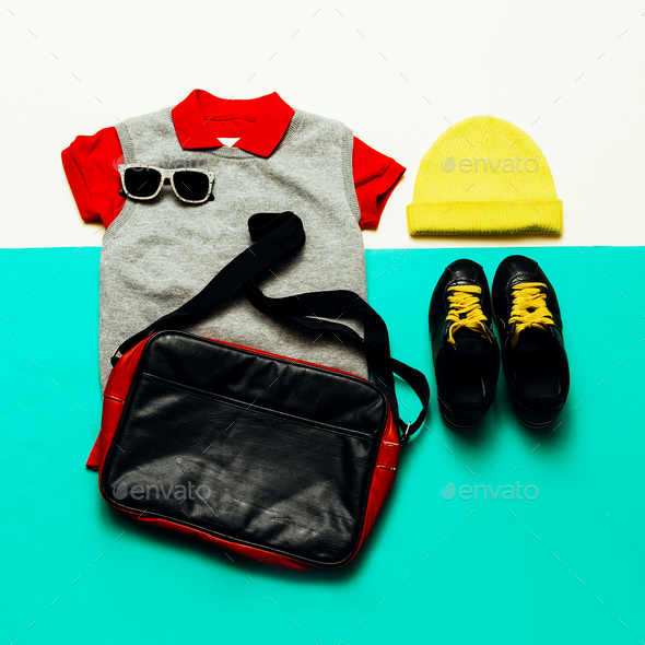 Jeans, shirt and sneakers. Cap. Urban sports style fashion acces - Stock Photo - Images