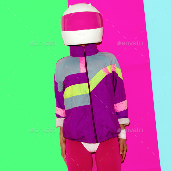 Model in a motorcycle helmet. Minimal fashion art. era rave - Stock Photo - Images