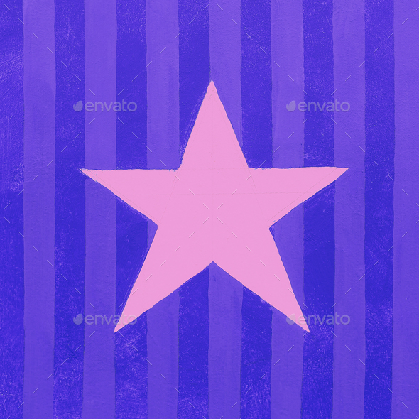 Star and colored striped wall minimal city art - Stock Photo - Images